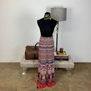 Anthropologie Farm Rio Mixed-Print Maxi Skirt XS